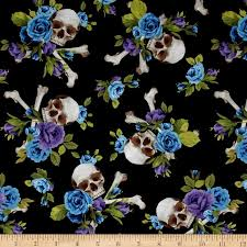 michael miller skulls out skull and roses purple discount designer