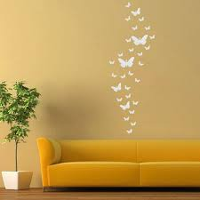 promo 30pcs diy 3d silver acrylic butterfly modern design home