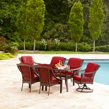 Lazy Boy Outdoor Patio Furniture by La Z Boy Outdoor Scarlett 7 Piece Dining Set Red