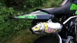 klx 110 stock vs pro circuit t4 exhaust youtube
