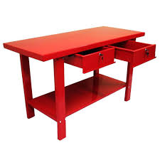 excel 59 in w x 25 5 in d x 34 in h steel work bench in red