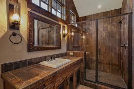 Rustic Bathroom Colors Central Oregon Custom Lodge Rustic Bathroom Other By