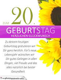 geburtstagssprüche 20 schlichte geburtstagskarte mit sonnenblumen zum 20 geburtstag