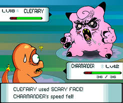 Meme Scary Face - clefairy used scary face on charmander in pokemon game