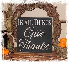in all things give thanks wood sign square fall rustic autumn