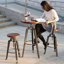 industrial bar table and stools wrought iron bar chair lift european retro wood to do the old
