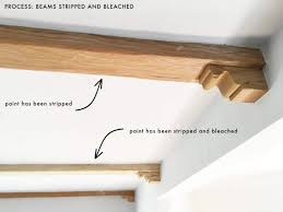 How To Lighten Stained Wood by How We Refinished Our Wood Beams Emily Henderson