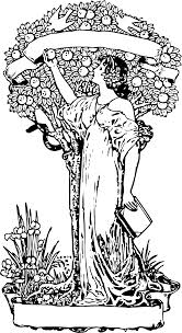 clipart woman at apple tree