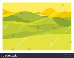 sunny warm hazy yellow landscape sun stock vector 622002578
