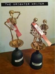 dollar store halloween skeleton trophies the brighter writer