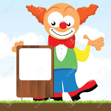 a clown holding a signboard royalty free cliparts vectors and