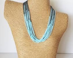 light blue statement necklace baby blue necklace etsy
