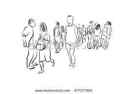 people walking marker sketch stock illustration 492524704