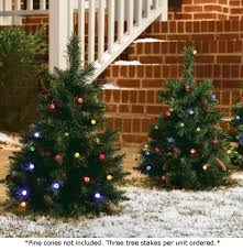 set of 3 cordless pre lit led 24 inch yard trees