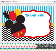 mickey mouse thank you cards on sale mickey mouse thank you cards 2 color choices birthday