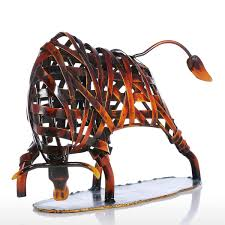 Animal Figurines Home Decor Best And Cheap Red Tooarts Metal Weaving Cattle Red Iron Sculpture
