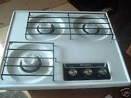 Ebay Cooktop Rv Camper White 3 Burner Drop In Cooktop Stove W Cover Ebay