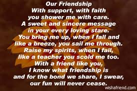 our friendship friendship poem