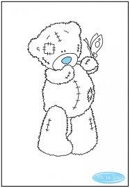 colour in tatty teddy holding a butterfly tatty teddy
