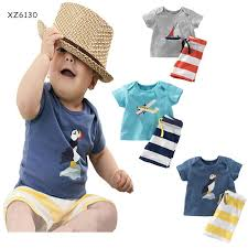 best 2016 summer baby boys anchor sets top t shirt stripe