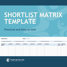 shortlist matrix template your hr on tap