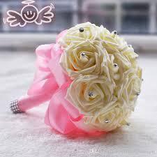 cheap flowers artificial wedding bouquets purple 2017 16 handmade ivory flowers