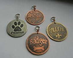 Baby Dog Tags Custom Etched Brass Copper Nickel Dog Tag Bone Fleur De Lis