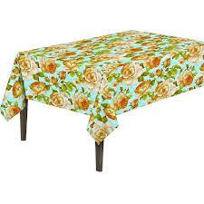 Patio Party Vinyl Tablecloth by Ottomanson Yellow Rose Vinyl Non Woven Backing Indoor Outdoor