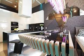 Futuristic Kitchen Designs Kitchen Parametrix Futuristic Kitchen Black Countertop Brick Wall
