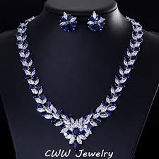 blue cubic zirconia necklace images Threegraces marquise design nigerian african wedding jewelry jpg