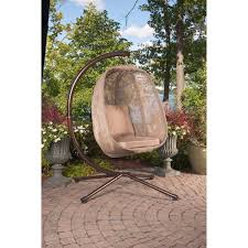 patio swing hanging egg chair outdoor backyard furniture with cushion and stand