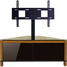 oak tv cabinets with glass doors furniture wooden corner tv stand with black swivel and adjustable