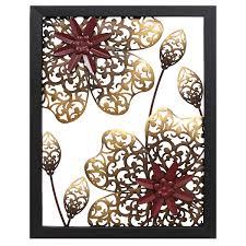 stratton home decor metal flower panel wall decor burgundy gold