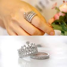 finger rings set images Princess crown imperial silver ring set women princess jewelry jpg