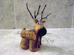 rustic deer reindeer wine cork ornament in poinsettia the