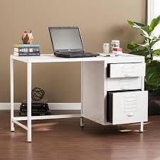 Industrial Writing Desk by Hartford Industrial Wood Metal File Desk Distressed White