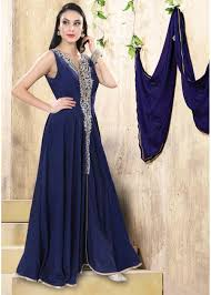 navy blue color raw silk fabric gown