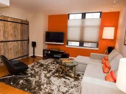 grey orange bedroom