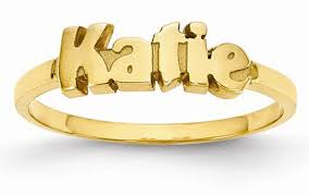 Personalized Name Ring Custom 14k Gold Personalized Name Ring