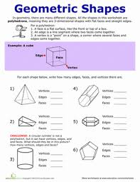 faces edges and vertices worksheet education com