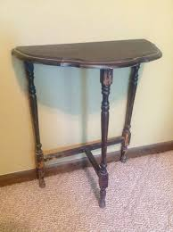 brown rustic brown half moon entry table of interesting half moon