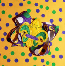 hair bow center mardi gras three color fleur de lis hair bow center embroidery