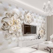 Dining Room Pictures For Walls Custom 3d Wallpaper For Walls Crystal Pearl Flowers Wallpaper