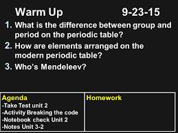 What S The Periodic Table Warm Up What Is The Difference Between Group And Period On The