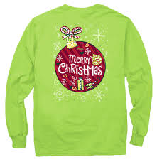 merry christmas longsleeve lime green shirt with christmas