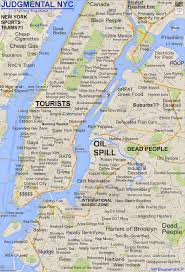 A Map Of New York City by Roosevelt Islander Online Judgmental Map Of New York City