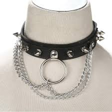 punk collar necklace images Punk rock gothic emo chain spike rivets choker necklace skull jpg