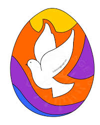 colored easter egg with dove of peace coloring page