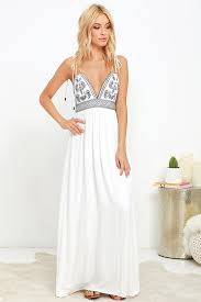 lulus dresses lulus days of sunlight ivory embroidered maxi dress fully lined