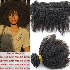 pics of black woman clip on hairstyle afro kinky curly clip in human hair extensions virgin brazilian